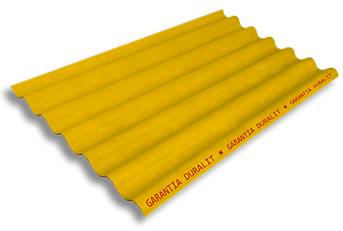 Teja Ondulada de Fibrocemento P7 Color Amarillo Fuego