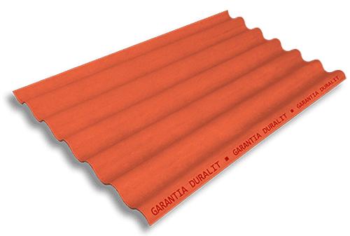 Teja Ondulada de Fibrocemento P7 Color Naranja Fuego